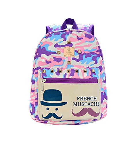 Price comparison product image Fashion canvas cute mustache school bags girls camouflage purple colors backpack