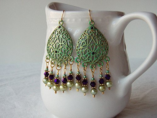 Purple & Green Earrings w/Cultured Freshwater Pearls, Faceted Glass & Gold Plated Earwires