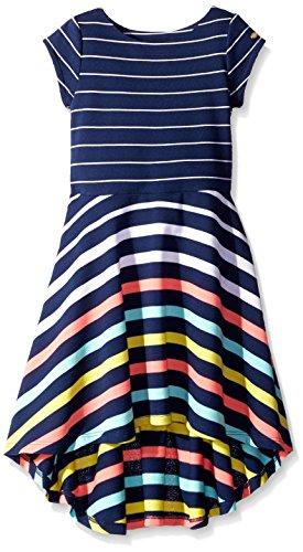 Tommy Hilfiger Little Girls' Yarn Dye Engineer High-Low Dress, Flag Blue, 6