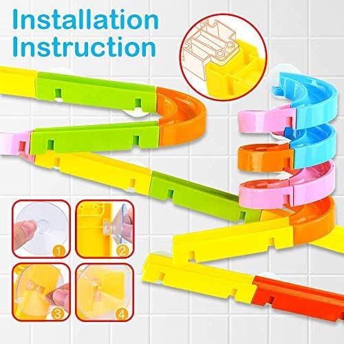 51S1X7siF8L. AC - Baby Bath Toys 27 Pcs Bathtub Bath Toys For Toddlers 3-4 Years Old DIY Waterfall Track Bath Toys For Kids Ages 4-8, Waterfall Station Educational Bath Toys For Boys & Girls