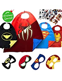 LAEGENDARY Super Hero Capes for Kids Toys – Dress Up Clothes for Boys – Superhero Party Supplies Birthday – 4 Kids Costumes with Glow in The Dark Spiderman Logo