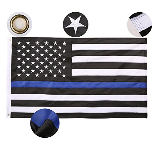 Thin Blue Line Flag 3x5 Ft Nylon Embroidered Stars Sewn Stripes Blue Line USA Banner American Flags for Police and Law Enforcement Officers by Geekercity (Rebel Flag Koozies)
