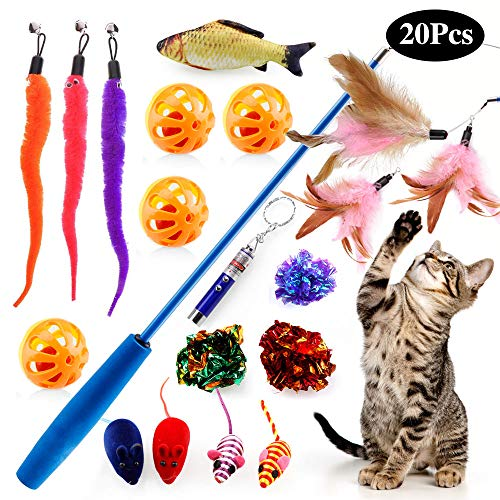poppy pet 20Pcs Cats Feather Toys Interactive Kitten Toys Assortments Kitty Teaser Fish Wand Fluffy Mouse Mice Balls and…