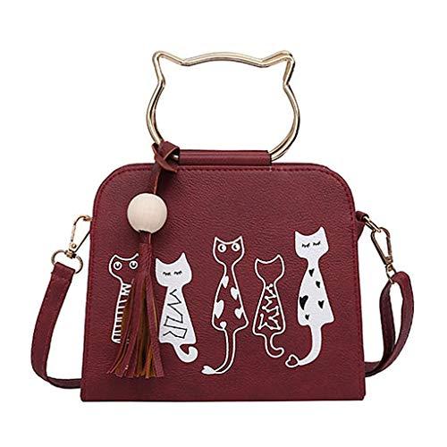 borlas para App 8 JAGENIE 09 Rojo Rojo 5x9x18cm diseño 21 de Gato Mujer 54x7 con Bolso Piel sintética Bandolera 46x3 x8E874F