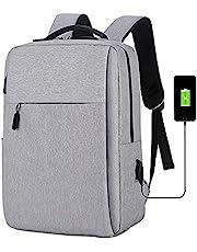 حقيبة ظهر للكمبيوتر 15.6 بوصة حقيبة كمبيوتر محمول USB منفذ شحن مقاومة للماء ومضادة للسرقة حقيبة ظهر للكمبيوتر للسفر والأعمال المكتبية للرجال - النساء