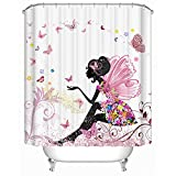 Uphome 72 X 72 Inch Trendy Pink Flower Fairy Girl with Butterfly Bathroom Curtain Ideas-White Background Heavy-duty Fabric Shower Curtains
