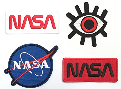 Astronaut Jet Pack Costume (Super save pack set patch of Iron on Patches #5, NASA Patch Logo#1, NASA Patch Logo#2, NASA Patch Logo#3, Eye Eyeball Tattoo Patch Embroidered Iron On / Sew On Patches for Jeans, clothing by BossBee)
