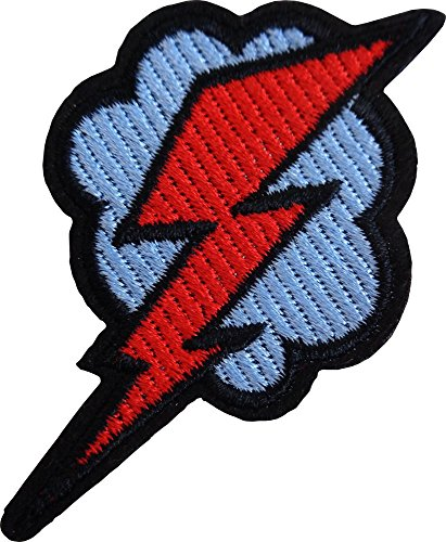 Red Lightning Bolt on Blue Cloud - Cut Out Embroidered Iron On or Sew On Patch