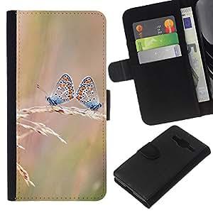 YiPhone /// Tirón de la caja Cartera de cuero con ranuras para tarjetas - Butterfly Dual - Samsung Galaxy Core Prime