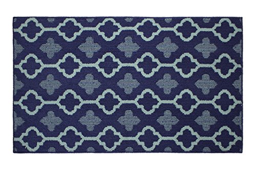 Jean Pierre All Loop Yapi 28 x 48 in. Decorative Textured Accent Rug, Navy/Mineral Blue