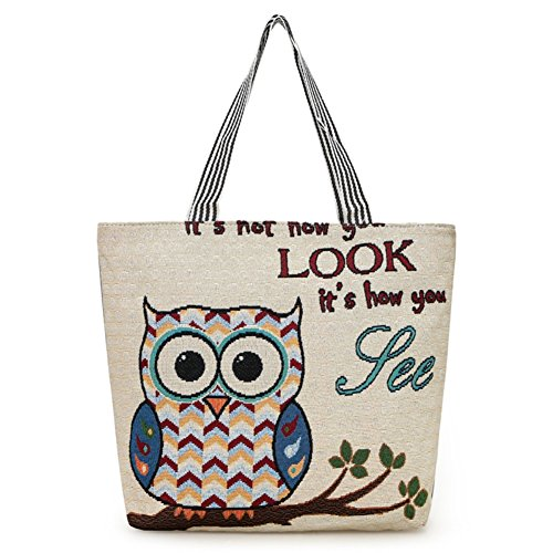 Thick Canvas Tote Bag Cute Embroidered Owl Handbag Big Capacity Grocery Shopping Bag Casual Shoulder Bag Summer Beach Bag for Women Girls -