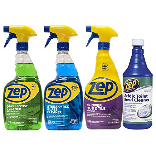Shower Cleaner Starter - Zep Starter Pack for Kitchen and Bath - FREE Toilet cleaner - Great for countertops, sinks, toilets, mirrors and tubs