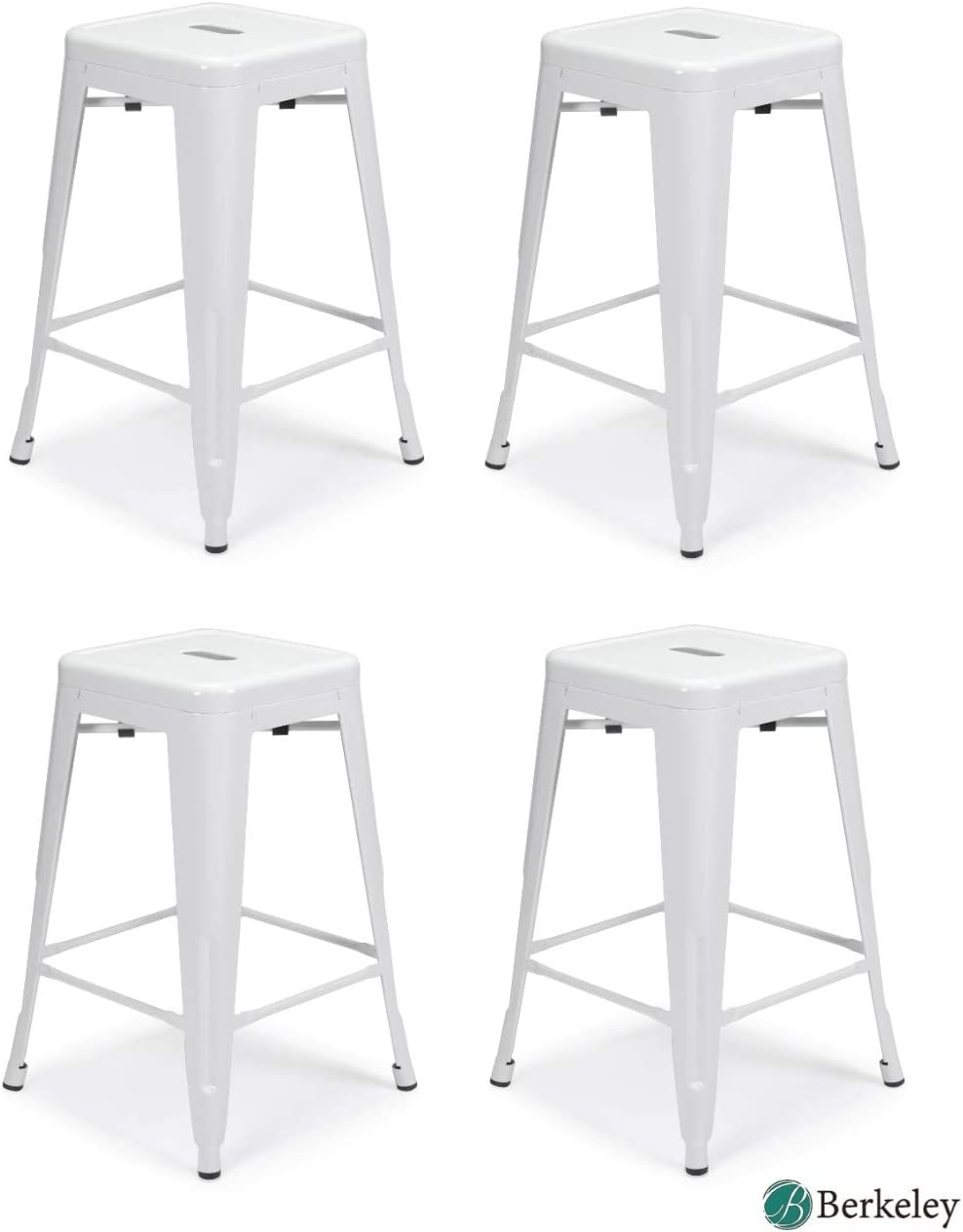 Set of 4 Milani Metal Bar Stools 24 White Stack-able, Indoor Outdoor Use, Kitchen Bar Stools, Patio stools, Industrial, Galvanized Steel Counter Stools