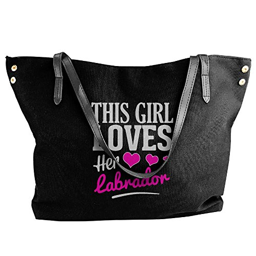 Her Messenger Canvas Women's This Hobo Tote Bag Girl Shoulder Labrador Black Tote Loves Large Handbag 8FUqwZxvF
