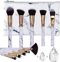 HEYMKGO – Lot de 10 pinceaux maquillages professionnels, manche motif marbre, poils synthétiques naturels doux et sans...