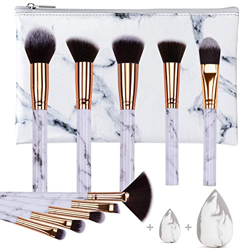 HEYMKGO Makeup Brushes Professional Marble Makeup Brush Set, Soft and Odor-free Natural Synthetic Bristles,10PCS + 2…