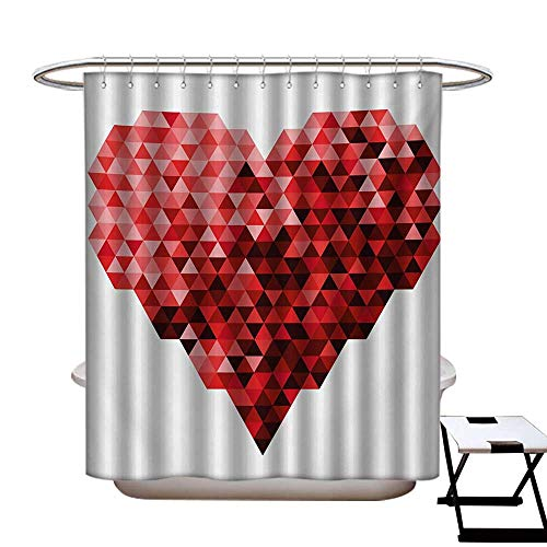 (Burgundy Shower Curtains 3D Digital Printing Futuristic Modern Heart in Geometrical Ombre Style in Squared Pixels Artwork Custom Made Shower Curtain W48 x L72 Red and Ruby)