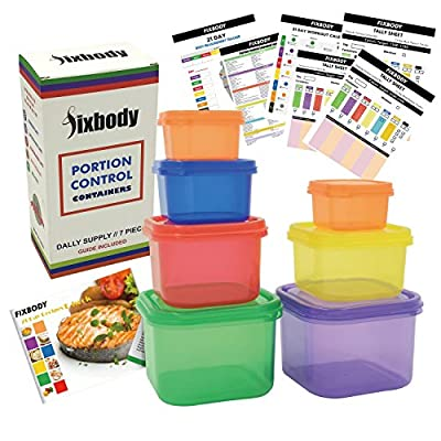 FIXBODY Portion Control Containers Color-Coded Labeled,Lose Weight System - 7 Pieces (COMPLETE GUIDE + 21 DAY PDF PLANNER + RECIPE E-BOOK + BODY PDF TRACKER included)