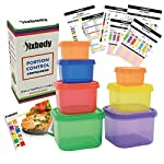 FIXBODY 7 Pieces 21 Day Portion Control Containers Color-Coded Labeled,Lose Weight System (Use Guide & 21 Day Tracker & Recipe Ebook Include) 9 NO MORE COUNTING CALORIES :Perfect sized containers allow you to gain a good understanding of how to eat clean and control portion sizes without the madness of counting calories. Makes weight loss easy NO MORE MEASURING FOR EASY MEAL PREP :Easy, fun, and color coded sturdy containers allow you to prepare meals without measuring. Includes: (1) Green (veggies  1 cup.), (1) Purple (fruits 1 cup.),(1) Red (proteins   3/4 cup.), (1) Blue (healthy fats   1/3 cup.), (1) Yellow (carbs  1/2 cup.), (2) Orange (seeds and dressings  2 tbsp.) PREMIUM QUALITY : FIXBODY Portion Control Containers are made from high grade quality polypropylene and are completely and Food safe. Top rack Dishwasher Safe, Microwave Safe, and Freezer Safe.Made to work with various exercise systems.