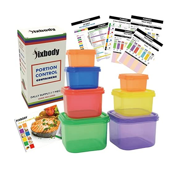 FIXBODY 7 Pieces 21 Day Portion Control Containers Color-Coded Labeled,Lose Weight System (Use Guide & 21 Day Tracker & Recipe Ebook Include) 1 NO MORE COUNTING CALORIES :Perfect sized containers allow you to gain a good understanding of how to eat clean and control portion sizes without the madness of counting calories. Makes weight loss easy NO MORE MEASURING FOR EASY MEAL PREP :Easy, fun, and color coded sturdy containers allow you to prepare meals without measuring. Includes: (1) Green (veggies  1 cup.), (1) Purple (fruits 1 cup.),(1) Red (proteins   3/4 cup.), (1) Blue (healthy fats   1/3 cup.), (1) Yellow (carbs  1/2 cup.), (2) Orange (seeds and dressings  2 tbsp.) PREMIUM QUALITY : FIXBODY Portion Control Containers are made from high grade quality polypropylene and are completely and Food safe. Top rack Dishwasher Safe, Microwave Safe, and Freezer Safe.Made to work with various exercise systems.