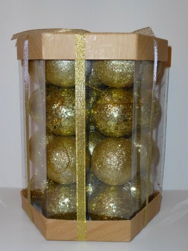 28 Glitter & Sequin Christmas Ball Ornaments Boxed Set (Gold)