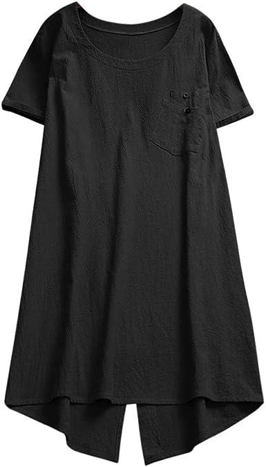 Luckycat Verano Camisas Tallas Grandes Mujeres Camisetas Anchas Pullover Cuello V Blusa Tops Blusa Lino de Mujer Manga Corta Blusa Señora Escote Camisetas Costura Ropa para Mujer Fiesta Camisa: Amazon.es: Ropa y