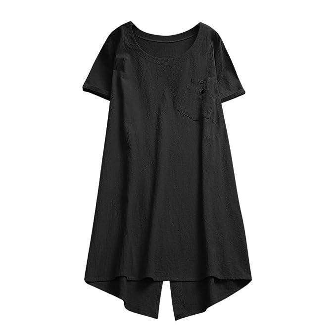 Luckycat Verano Camisas Tallas Grandes Mujeres Camisetas Anchas Pullover Cuello V Blusa Tops Blusa Lino de Mujer Manga Corta Blusa Se/ñora Escote Camisetas Costura Ropa para Mujer Fiesta Camisa