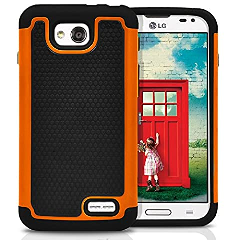 LG Optimus L90 Case, MagicMobile [Dual Armor Series] Rugged Impact Resistant Case LG Optimus L90 Slim Cover Shockproof Silicone Skin Hard Plastic [Orange] Armor Protective Case for LG Optimus (Covers Lg Optimus L90)