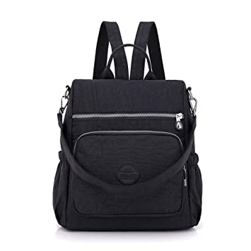 MG-N Bolsos Maletas Mochila Backpack De Viaje Impermeable Al Aire Libre Bolso De Viaje De Las Mujeres, Paquete Portátil Con Cremallera Lisa (Color : Black): ...