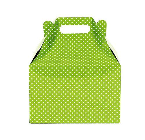 12CT(1 Dozen) Large Biodegradable, Kraft/Craft Favor, Treat Gable Boxes (Large, Polka Dot Lime Green)