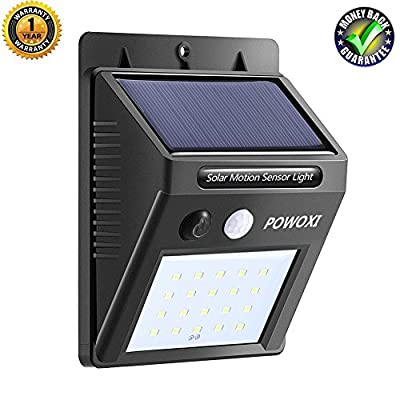 20 LED Solar Lights Outdoor,Powoxi Super Bright Motion Sensor Lights,Wireless Waterproof Security Lights for Wall, Driveway, Patio, Yard, Garden, with Motion Activated