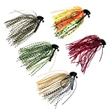 5 Pcs 7g /10g (1/4oz) /( 3/8oz) Mixed Colour Fly Rubber Swim Bass Jig Fishing Lures (5pcs 10g ( 3/8oz))