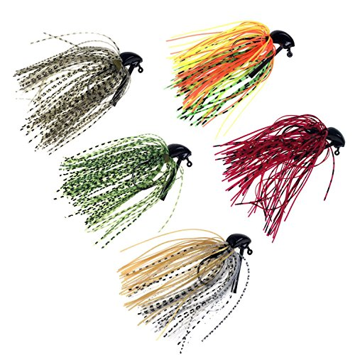 5 Pcs 7g /10g (1/4oz) /( 3/8oz) Mixed Colour Fly Rubber Swim Bass Jig Fishing Lures (5pcs 7g (1/4oz)) (Bait Bass Smallmouth)