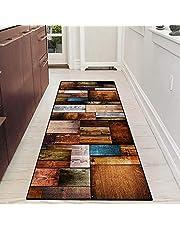 Hallway Runner Rug Non Slip Washable Gray and Blue Modern Runner Mat with Rubber Backing Carpet for Living Room Bedroom Kitchen