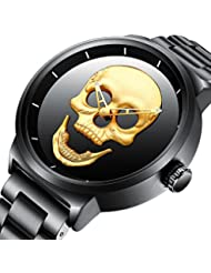 Mens Watch Fashion Classic Quartz Men Watches Skull Pattern Dail Stainless Steel Band Waterproof Wrist Watch (...