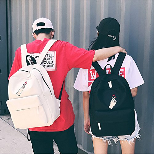 mujer de escolares linda lona Bagss Corazón W13 heart bordado L31 H40cm Travel Mochila Negro Black Rose Mochila adolescentes mochilas mujeres's Mochilas para AtwSqdA
