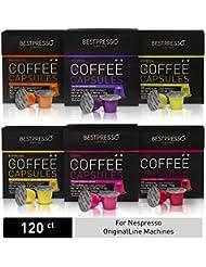 Bestpresso Coffee for Nespresso OriginalLine Machine 120 pods Certified Genuine Espresso Variety Pack, Pods Compatible with Nespresso OriginalLine