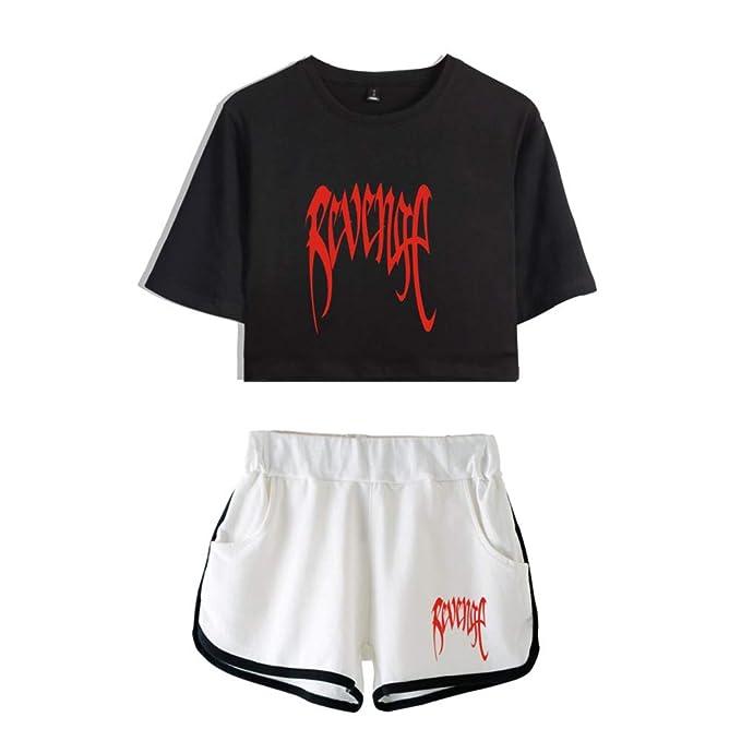 EnjoyYourLife Xxxtentacion T-Shirt Crop Top   Pantaloncini Maglietta Manica  Corte Top e Pantaloncini  Amazon.it  Abbigliamento f846ffaebecf