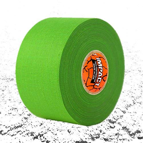 """Impact Athletic Tapes - Athletic Tape (1.5"""" x 15 Yards) 50/50 Blend Polyester & Cotton for Durability - 100% All Natural Rubber Adhesive - Hypoallergenic - Trainers Tape (Neon Green)"""