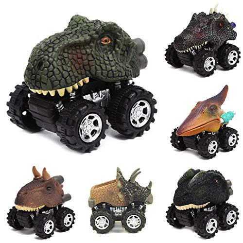 Kizaen Pull Back Dinosaur Cars, Pawaca Dino Cars Toys with Big Tire Wheel for 3-14 Year Old Boys Girls Creative Gifts for Kids