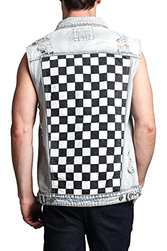 Distressed Checkered Ska Punk Mod Denim Vest DK116 - Light Indigo - X-Large - II13H