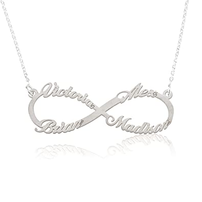 life pin with and silver infinity necklace bespoke personalised your words names