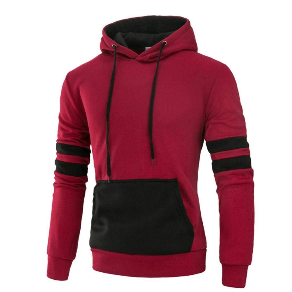 Pervobs Men's Long Sleeve Autumn Loose Splicing Pocket Casual Sweatshirt Hoodies