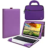Evecase Acer Aspire Switch 10 SW5-012 / SW5-011 Case, 2-in-1 Leather Keyboard Portfolio Stand Case Cover - Purple + Neoprene Handle Sleeve