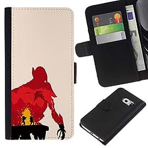 NEECELL GIFT forCITY // Billetera de cuero Caso Cubierta de protección Carcasa / Leather Wallet Case for Samsung Galaxy S6 EDGE // Jedi Duelo
