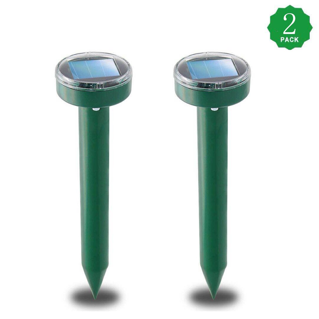 XIAXIA 2Pack Solar Sonic Mole Repellent Gopher Repeller Ultrasonic Mole Spike Vole Chaser Pest Deterrent Rodent Repellant Ultrasonic Rid Mole from Your Lawn Garden Yard -Green