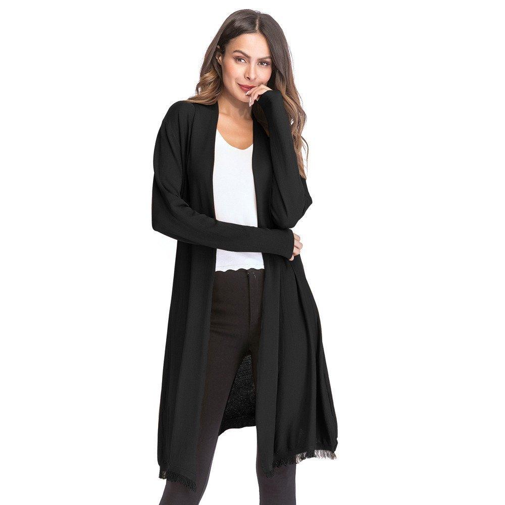 Makeupstore Clearance Sale! Women's Loose Cardigan Retro Blouse Coat, Solid Knit Tassel Knitting Outwear