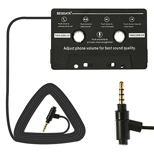 BESDATA Universal Car Audio Cassette Player Adapter Hands Free Calling and Music Cassette Adaptor with Mic, Black
