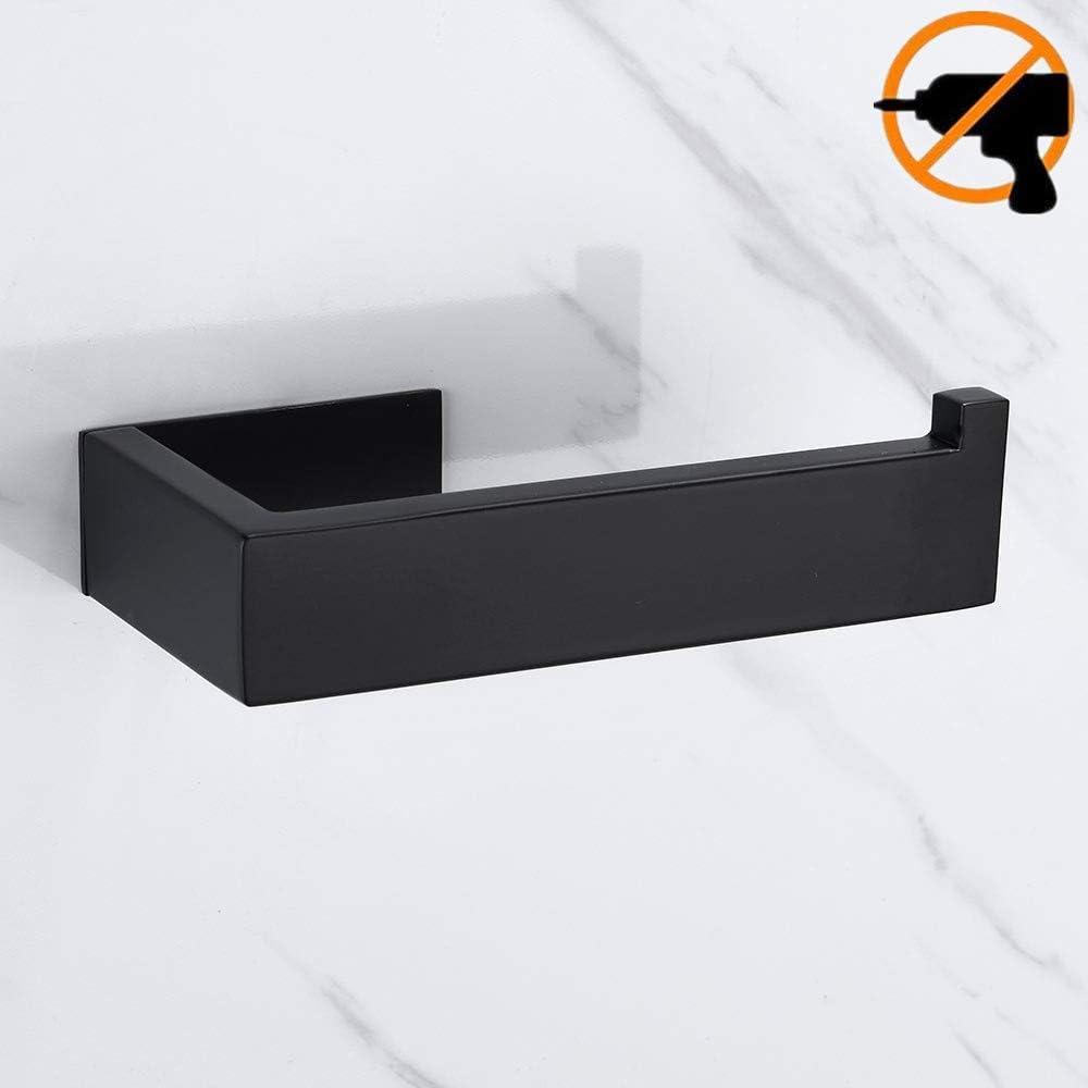 sans per/çage, noir Lolypot Porte Rouleau Papier Toilette de support 304 de Acier Inoxydable de Porte-papier noir Accessoirs WC Salles de Bains