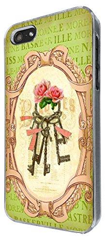 539 - Vintage Shabby Chic Victorian Key Floral Roses Design iphone 5 5S Coque Fashion Trend Case Coque Protection Cover plastique et métal